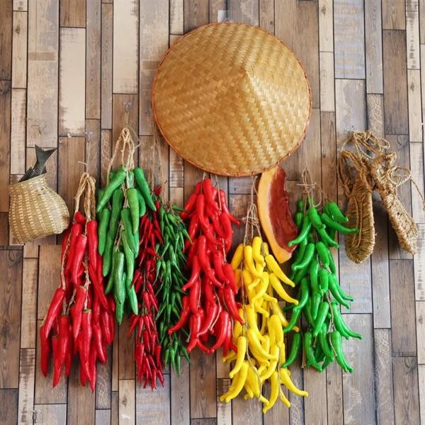 仿真水果蔬菜串餐厅农家乐装挂饰假大蒜玉米黄瓜辣椒茄子花生土豆