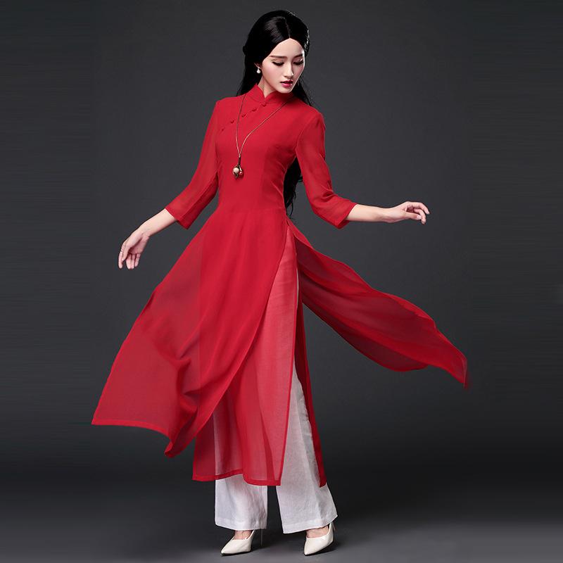 越南奥黛旗袍正宗套装裙改良长款春秋季夏新款连衣裙阔腿裤两件套