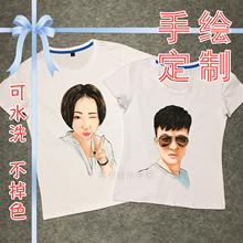 Commemorative T-shirt custom hand-painted graffiti head cotton clothes portraits of men and women Q-version couples dressed as parent-child gifts