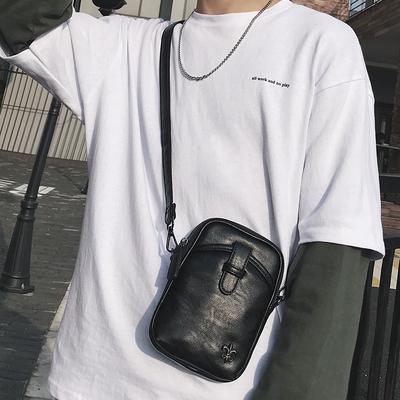 2018新款时尚青年小包户外运动骑行挎包潮流皮质男士单肩包手机包
