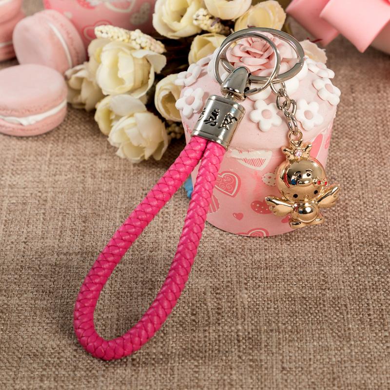席德汽车钥匙扣bv编织绳钥匙链男女情侣挂件生肖招财猫小猪佩奇