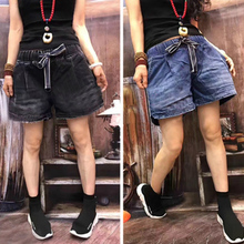 European goods summer 2019 NEW Loose Jeans Shorts tight waist summer casual wide-legged pants ladies Street pat pants tide