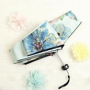 中国风5五折伞女彩绘花朵超轻迷你口袋晴雨伞黑胶折叠防晒遮阳伞