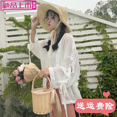 2018夏季新款女装韩版学生宽松背心绑带长袖雪纺衫披肩防晒衣外套