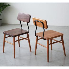 [凡屋/巧克力餐椅]原创椅子北欧实木樱桃木黑胡桃咖啡厅铁艺榫卯