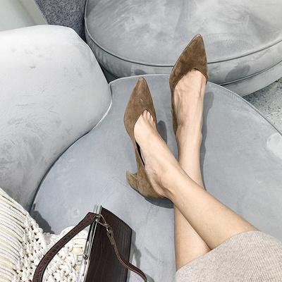 BALA自制2018春秋季新款鞋子粗跟真皮浅口女鞋时尚尖头高跟单鞋