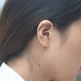 Baochuang gold 999 solid glossy square ear line pure gold simple Korean wind long earrings magic square long earrings