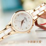手表女学生韩版简约潮流陶瓷表带白色时尚少女生小巧小表盘