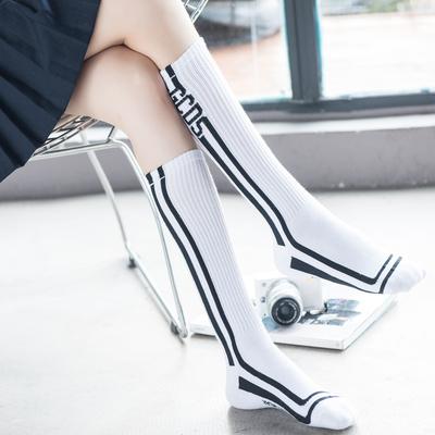 日系字母棉中筒袜女韩国条纹长筒袜秋冬学院风不过膝高筒袜小腿袜