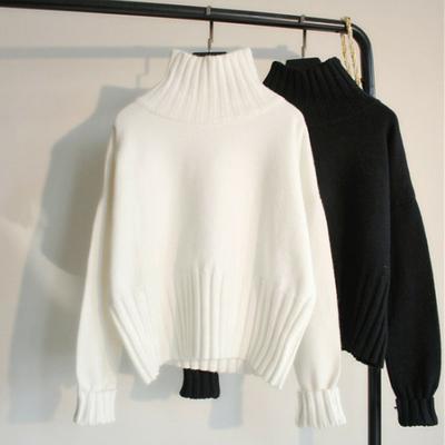 秋冬季新款慵懒风高领套头毛衣女长袖白色针织打底衫短款加厚上衣