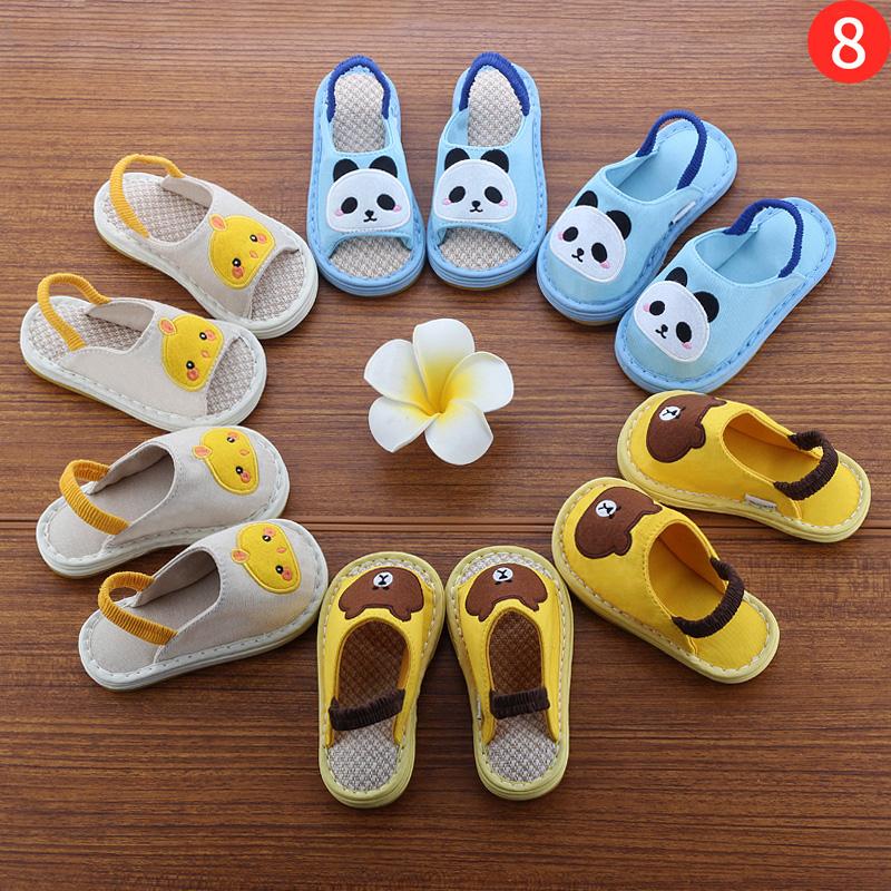 幼儿童亚麻拖鞋婴儿防滑女宝宝春秋夏季男童布家居鞋1-3岁四季款