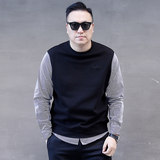 19 spring new shirt fake two Korean youth large tide fat plus fat XL men's long-sleeved sweater