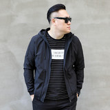 Autumn's new plus-size men's men's oversize hipster puffy men's short hooded jacket jacket