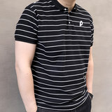 Summer New Stripe Large Men's Fashionable Fat Man Gains Fat and Large Men's Short Sleeve POLO Shirt Turn-over T-shirt