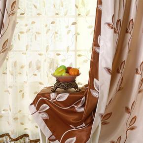 韩式田园双面全遮光加厚静音珍珠绒面绣花窗帘新款窗帘特价包邮