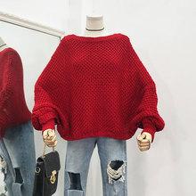 J@25秋冬季毛衣女韩版套头蝙蝠袖宽松外穿慵懒风时尚镂空针织衫