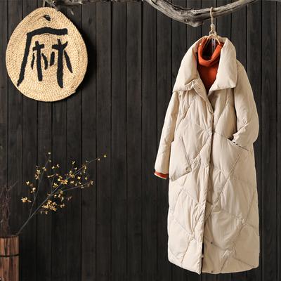 涧蓝原创韩版文艺宽松长款羽绒服外套女装冬季新品90绒羽绒服外套
