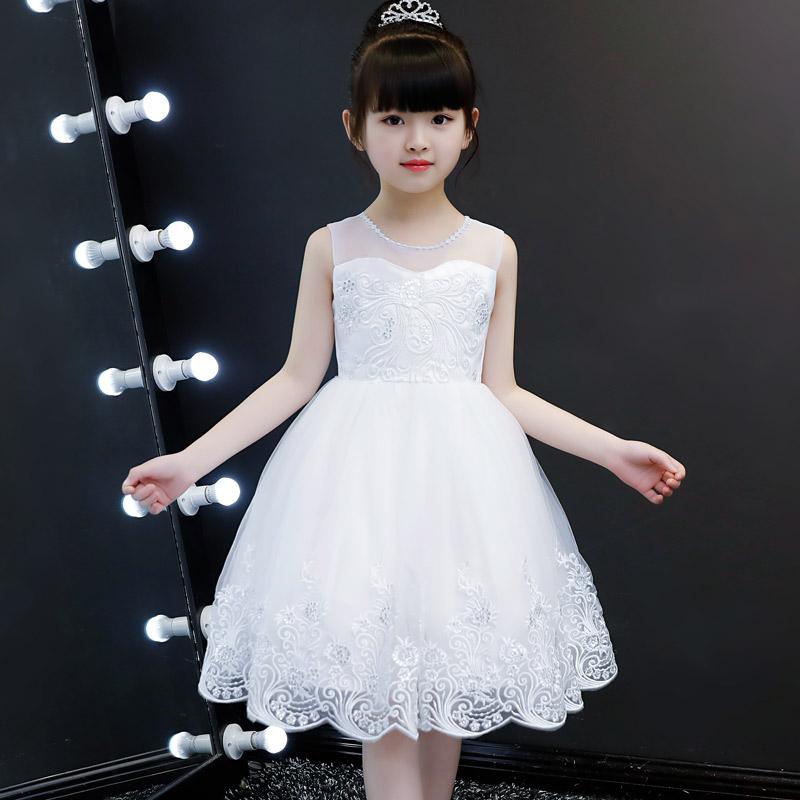 女童白纱裙2019洋气裙子夏季大童雪纺公主裙礼服儿童连衣裙小女孩