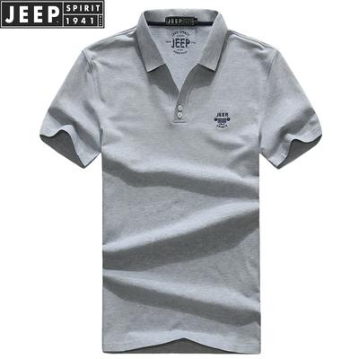 正品JEEP SPIRIT短袖t恤夏季纯色翻领体恤吉普男装商务休闲polo衫