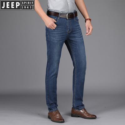 jeep正品男士薄款纯棉牛仔裤吉普宽松大码直筒全棉商务牛仔长裤子