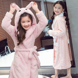 Children's dressing robes autumn and winter girls' pajamas in the long home dress flannel bathrobe coral velvet swimming robe big child