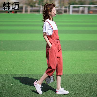2019夏季薄款减龄牛仔背带裤两件套女韩版宽松小个子七分套装俏皮