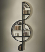 饰墙饰收纳架小提琴音符装 创意欧式金属铁艺壁饰放书架音乐装 饰架