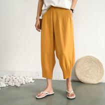 大码休闲灯笼裤女夏季薄款百搭宽松显瘦褶皱九分阔腿裤舒适奶奶裤