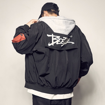 Mens loose hat can be torn down baseball clothes mens fall new jacket oversize hip-hop jacket personality Top