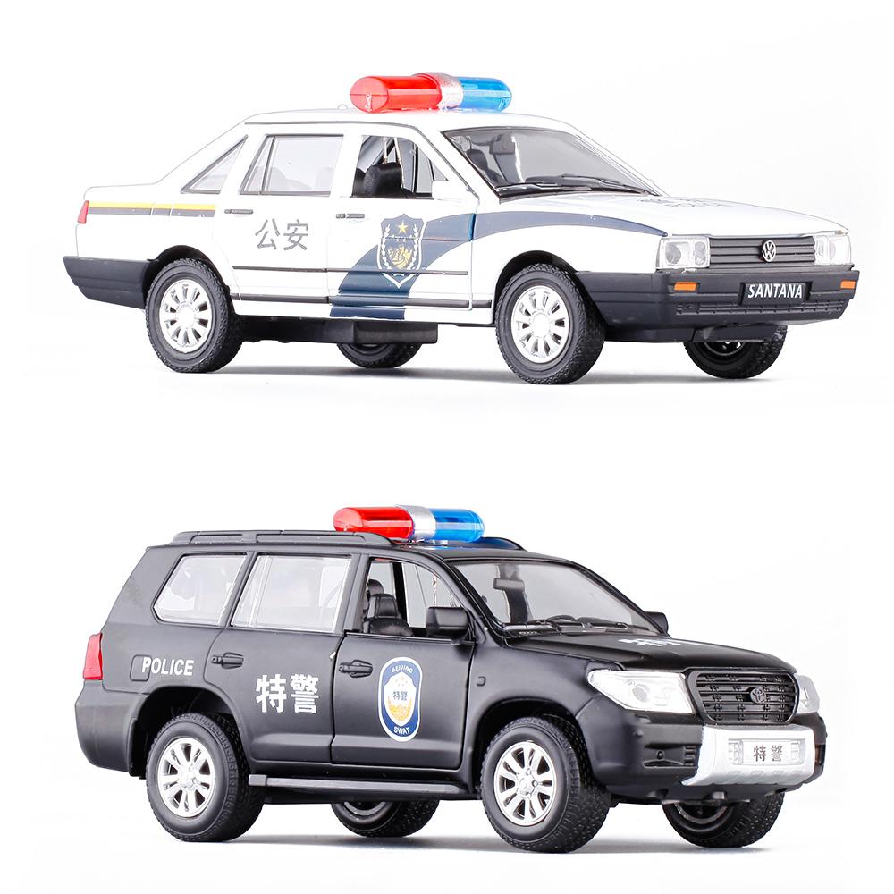 新品1:32丰田大众桑塔纳警车 儿童声光开门回力合金汽车模型玩具