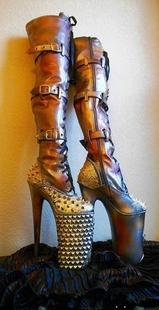 Boots㊣美國代購 手作特別朋克搖滾拉鏈超高跟細跟長筒皮革靴子