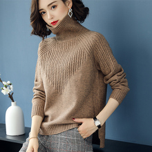 2018 sweater winter thick sweater female loose short paragraph new sweater high collar long sleeve bottoming shirt