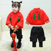 Children's Tang suit girl foreign style suit winter little girl quilted cheongsam baby warm Hanfu New Year's clothing 3 years old