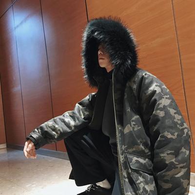 2017冬季新款男青年中长款男士迷彩毛边领棉衣潮流男款加厚外套潮