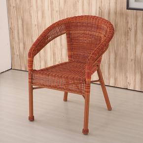 阳台休闲藤椅子现代简约藤椅单人编织老人靠背椅户外室内腾椅家用