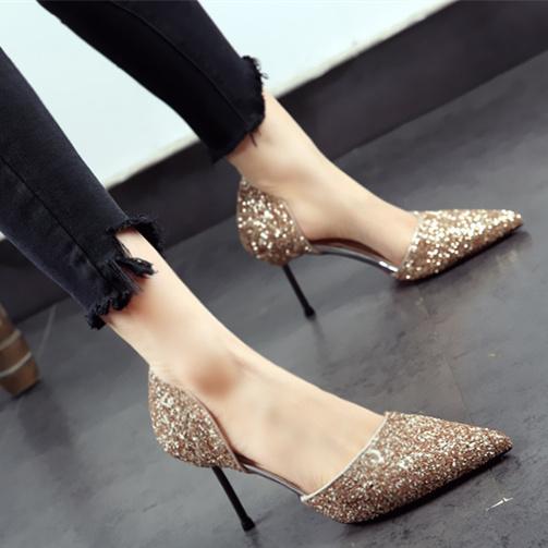 金色亮片女鞋子