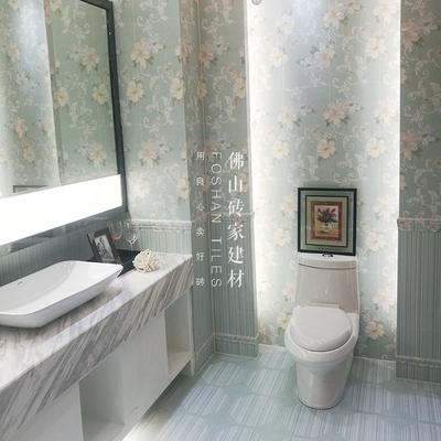 简约现代厕所内墙砖卫生间瓷砖300绿色仿壁纸墙砖600浴室防滑地砖什么牌子好