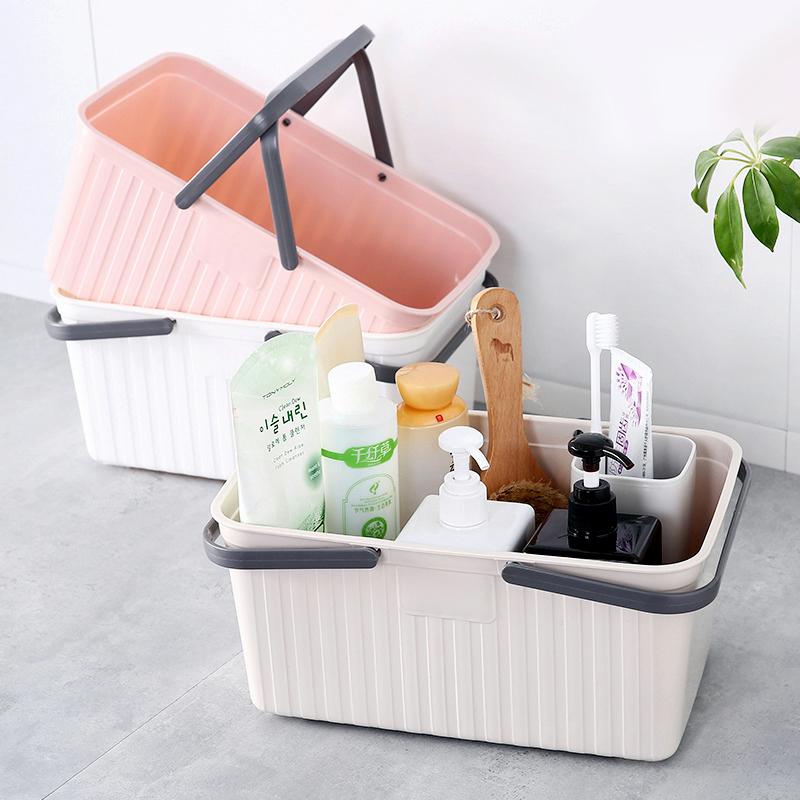 手提洗澡篮子浴室浴筐可爱澡篮装洗漱用品的洗浴蓝收纳框其他收纳