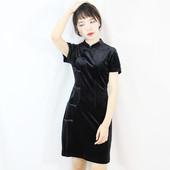 性感显瘦旗袍修身 女人味低开叉 黑色丝绒短款