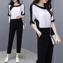 2018春夏新款大码女装韩版胖mm宽松减龄两件套200斤雪纺洋气套装