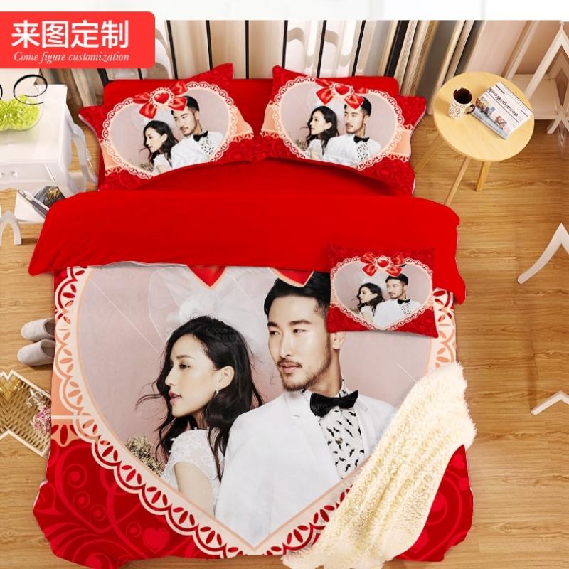 婚庆个性定制四件套照片床上用品订制被套床品女套件定做生日礼物