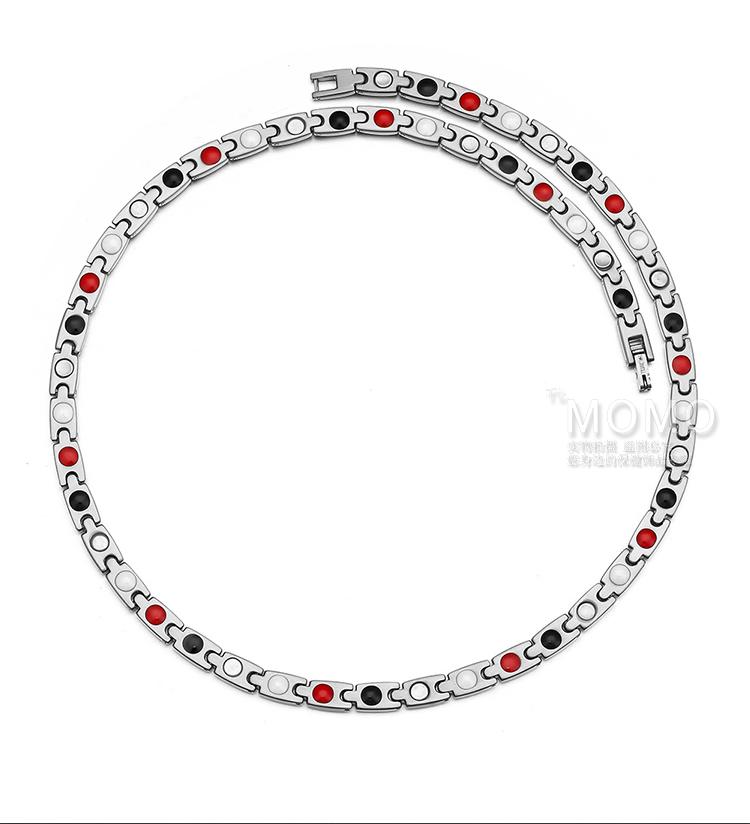 治颈椎保健磁疗项链日本MOMO小版纯钛锗项圈磁力项圈颈椎项链钛链