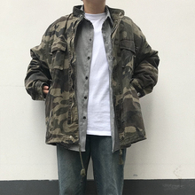 Spring and Summer American style retro collar loose overalls camouflage jacket BF Hansu Korean version of men's and women's fashion jacket