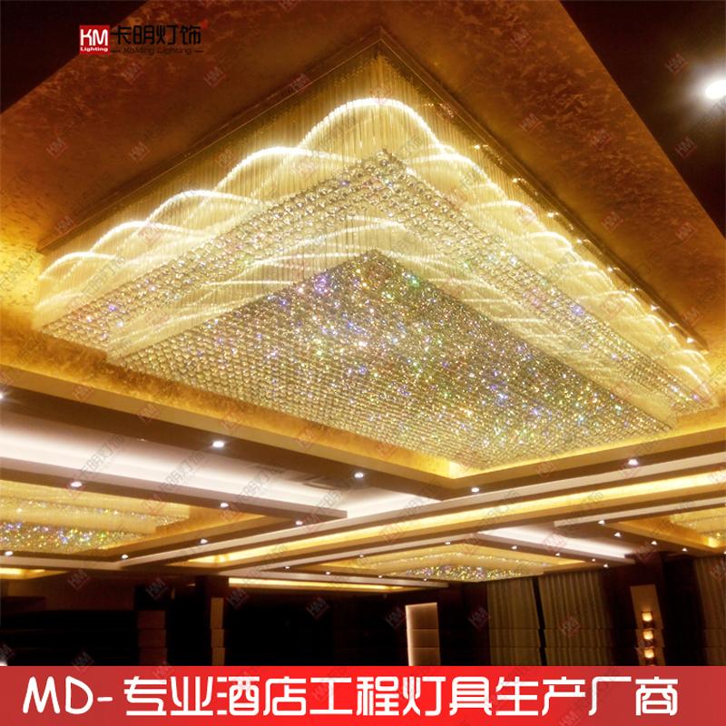 长方形水晶吸顶灯酒店会议室KTV电梯走廊吸顶灯别墅客厅灯具定制