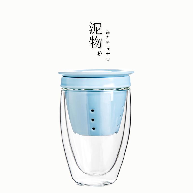 陶瓷飘逸杯办公室玻璃茶杯水杯带盖过滤内胆加厚耐热双层花茶杯子