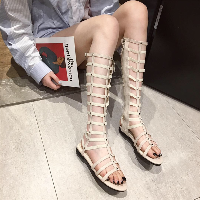 2019夏新款欧美百搭凉鞋女镂空高筒平底绑带高帮长筒罗马显瘦凉靴