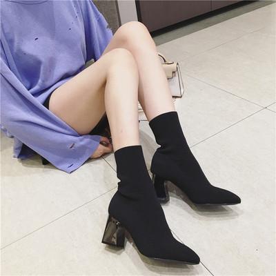 2018秋冬新款弹力靴女时尚尖头裸靴高跟鞋中筒粗跟针织袜子靴短靴