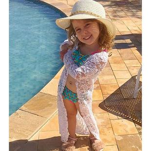 儿童欧美夏季款女童长袖花朵白色蕾丝防嗮衣外套一件代发童装 ins