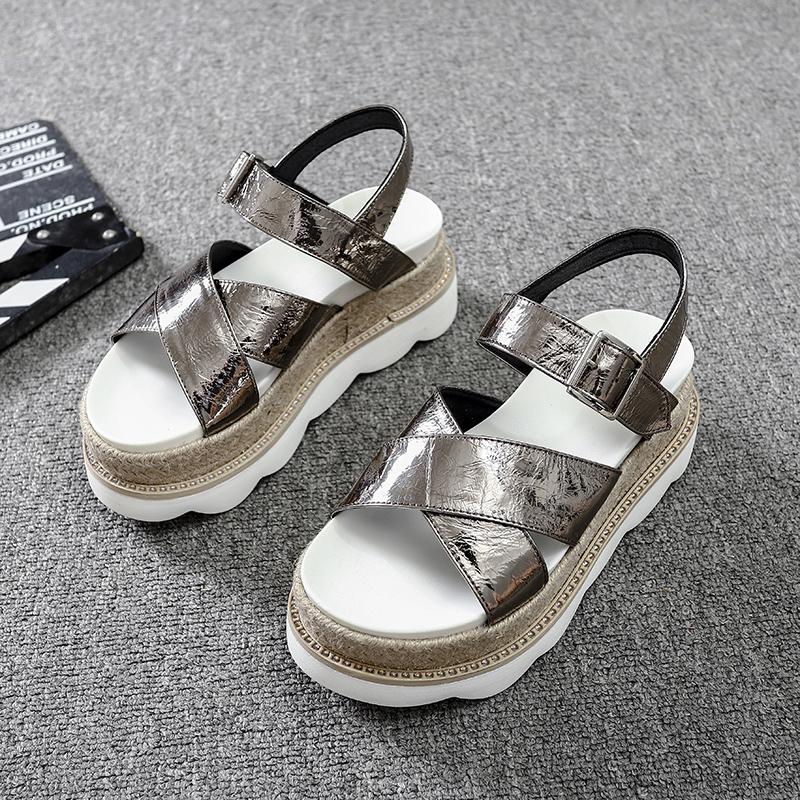 欧洲站凉鞋松糕底女夏2019新款时尚英伦百搭厚底露趾坡跟罗马鞋潮
