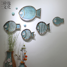Creative home wall decoration background wall Mediterranean three-dimensional decorative wall hanging ceramic handicraft national package
